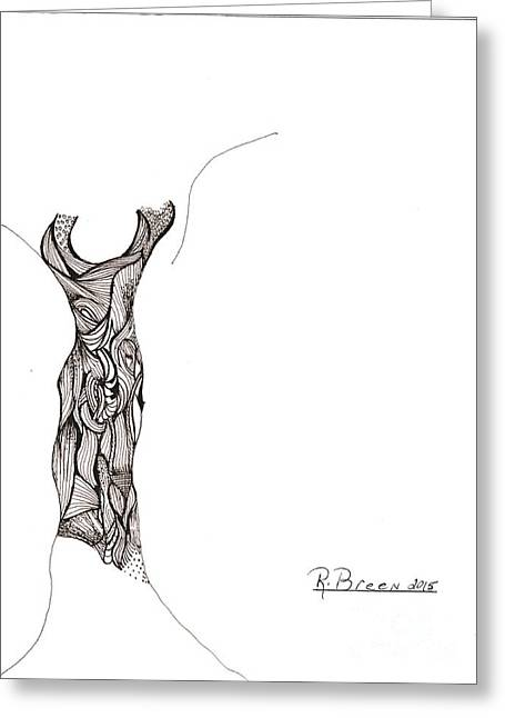Evening Dress Drawings Greeting Cards - Cocktail Dress in Sepia Greeting Card by Ronda Breen