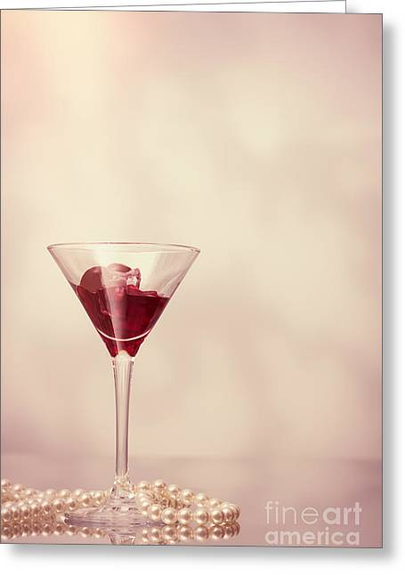 Cocktail Glass With Pearl Necklace Greeting Card by Amanda Elwell