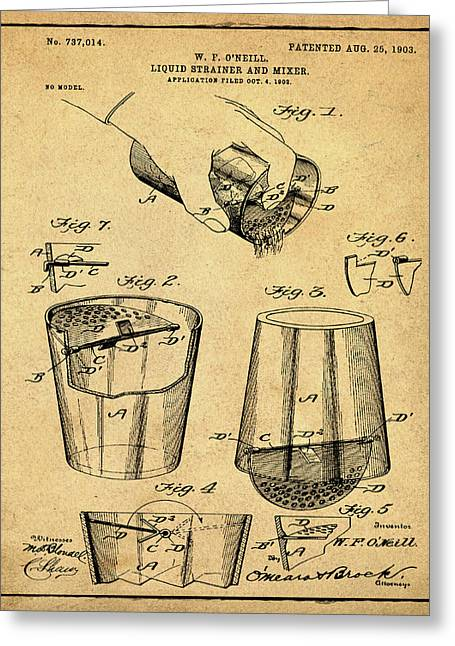 Cocktail Mixer Patent 1903 In Sepia Greeting Card by Bill Cannon