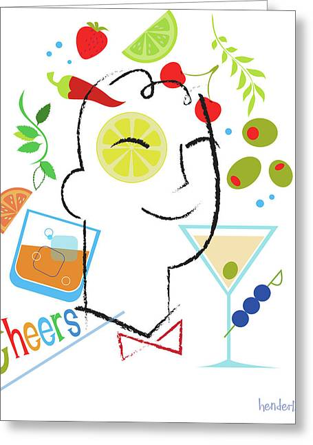 Liquor Greeting Cards - Cocktail Time Greeting Card by Lisa Henderling
