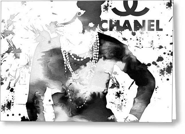 Coco Chanel Grunge Greeting Card by Dan Sproul