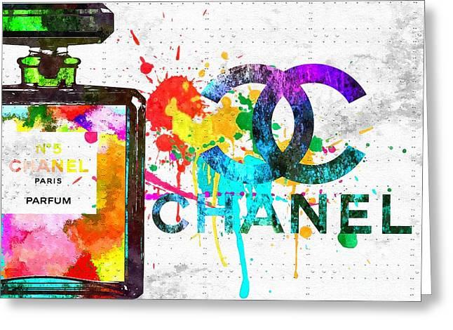 Coco Chanel No. 5 Grunge Greeting Card by Daniel Janda