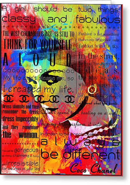 Powder Greeting Cards - Coco Chanel Quotes 3 Greeting Card by Nostalgic Art