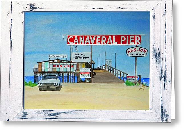 Surfing Art Mixed Media Greeting Cards - Cocoa Beach/Cape Canaveral Pier Greeting Card by MGilroy