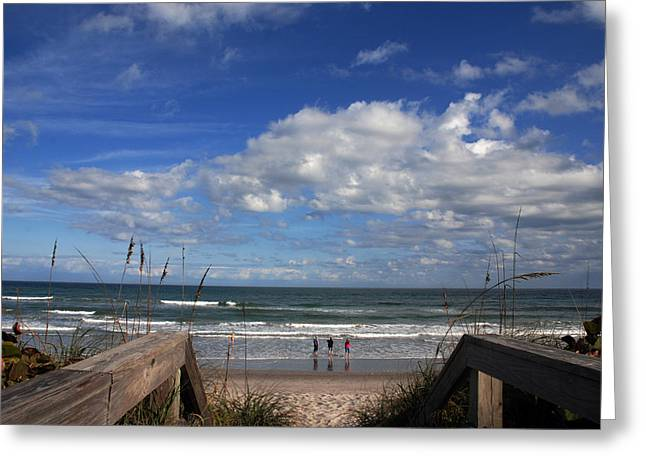 People At The Beach Greeting Cards - Cocoa Beach Florida Greeting Card by Susanne Van Hulst