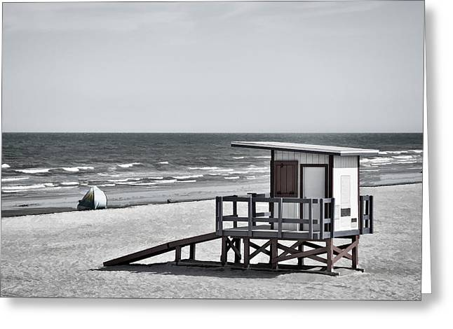 Cocoa Beach - Life Guard Shack - Florida - B/w Greeting Card by Greg Jackson