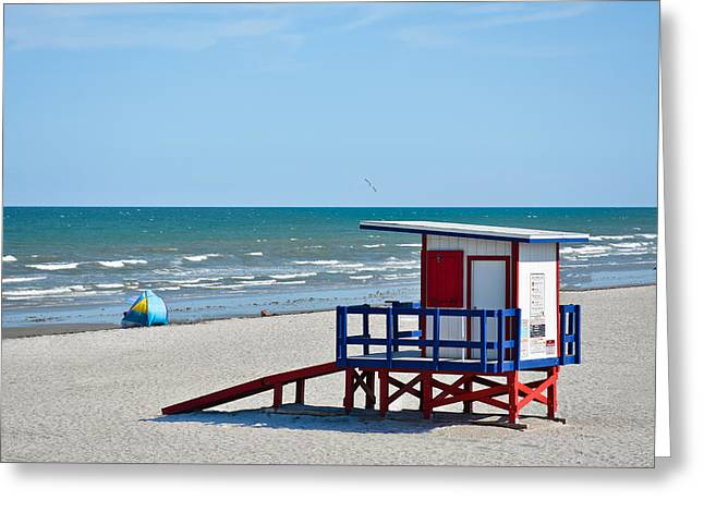 Breaking Rules Photographs Greeting Cards - Cocoa Beach - Life Guard Shack - Florida Greeting Card by Greg Jackson