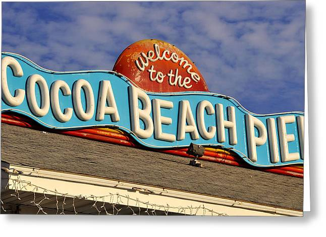Ocean Art Photography Greeting Cards - Cocoa Beach Pier Sign Greeting Card by David Lee Thompson