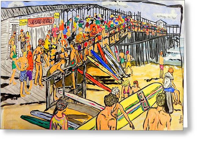 Ocean Shore Mixed Media Greeting Cards - Cocoa Beach Pier/surf festavil Greeting Card by W Gilroy
