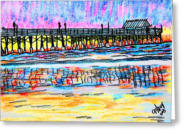 Tropical Oceans Pastels Greeting Cards - Cocoa Beach Pier Greeting Card by W Gilroy