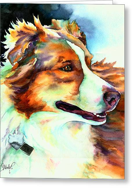 Australian Cattle Dog Greeting Cards - Cocoa Lassie Collie Dog Greeting Card by Christy  Freeman