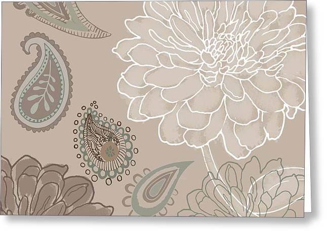 Sand Patterns Greeting Cards - Cocoa Paisley V Greeting Card by Mindy Sommers