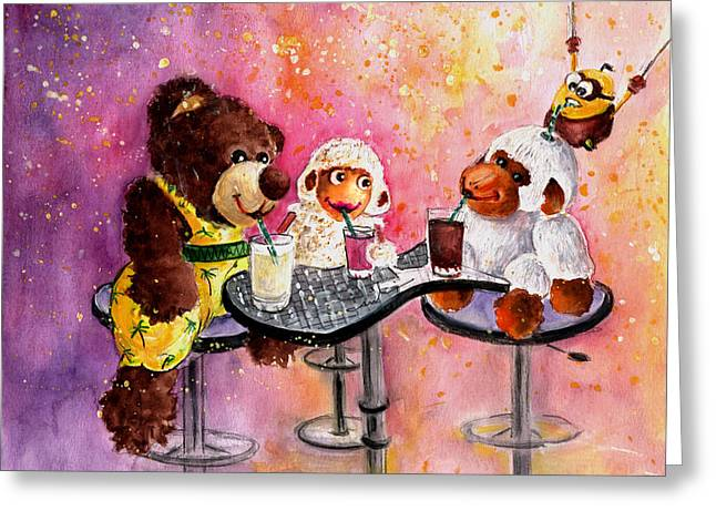 Coconut And Truffle Mcfurry Having A Drink Greeting Card by Miki De Goodaboom
