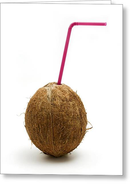 Cut-outs Greeting Cards - Coconut with a straw Greeting Card by Fabrizio Troiani