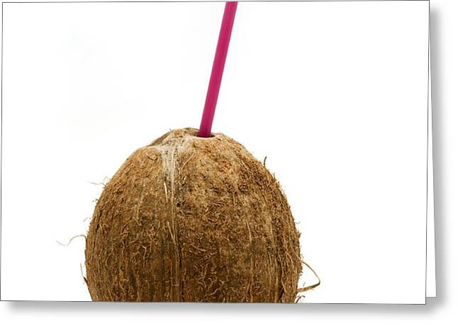 Coconut with a straw Greeting Card by Fabrizio Troiani