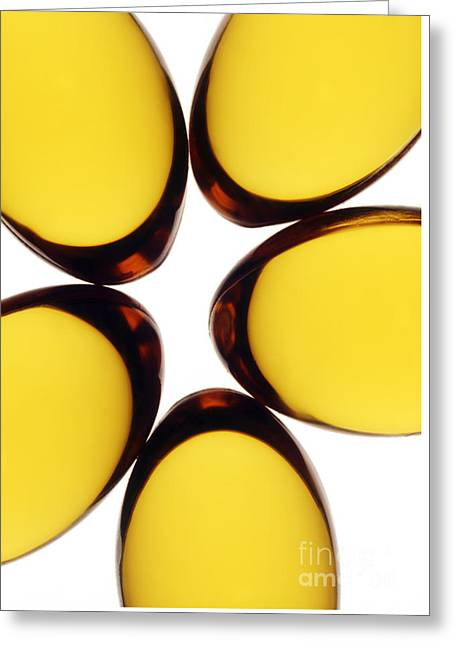 Cod Liver Oil Capsules On White Background Greeting Card by Phil Cawley