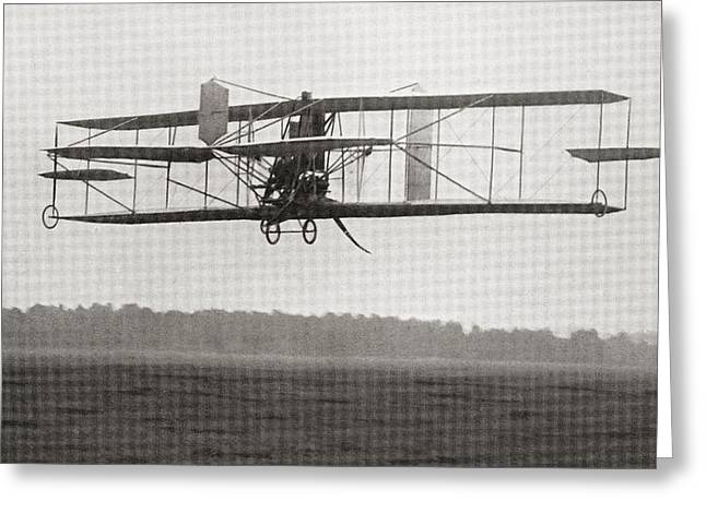 Franklin Drawings Greeting Cards - Cody S Biplane In The Air In 1909 Greeting Card by Ken Welsh