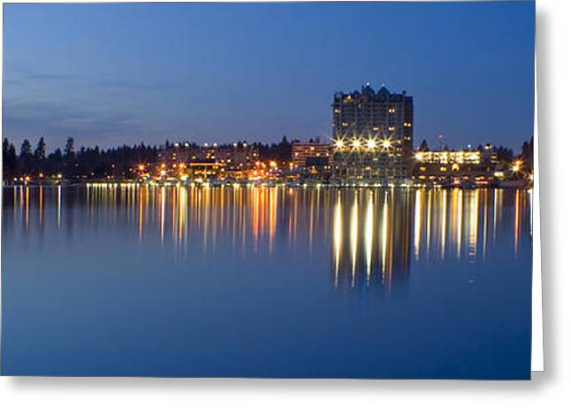 Coeur D Alene Night Skyline Greeting Card by Idaho Scenic Images Linda Lantzy