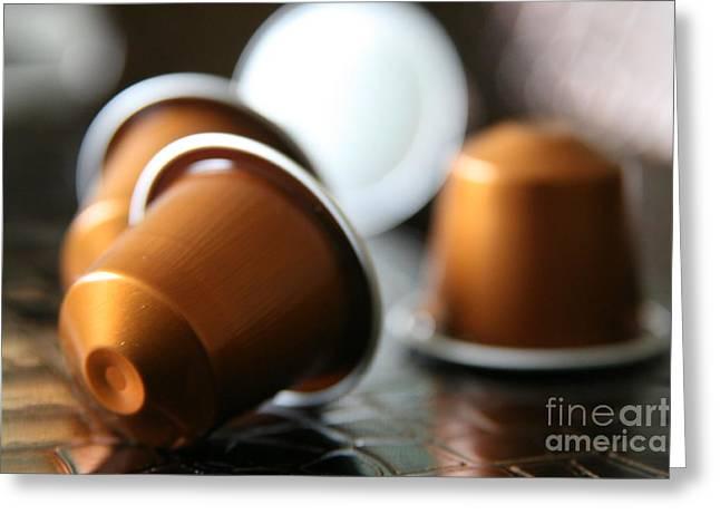 Capsule Greeting Cards - Coffee addict Greeting Card by Lynn England