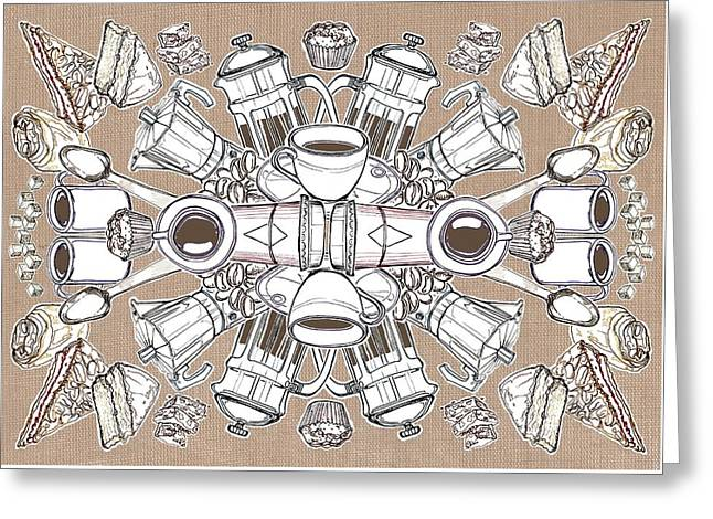 Food Digital Art Greeting Cards - Coffee and Cake Greeting Card by Matt Bannister