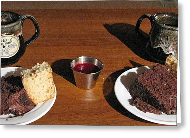 Dessert For Two Greeting Cards - Coffee and chocolate cake. Mountain House Inn Greeting Card by Ausra Paulauskaite