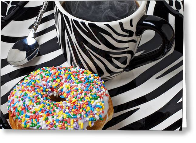 Coffee and donut on striped plate Greeting Card by Garry Gay
