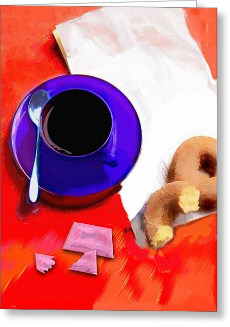 Take-out Greeting Cards - Coffee and Donuts Irony Greeting Card by Elaine Plesser