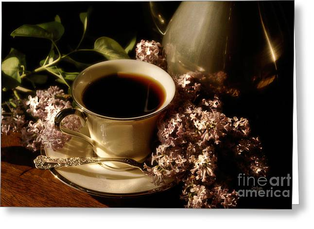 Coffee And Lilacs In The Morning Greeting Card by Lois Bryan