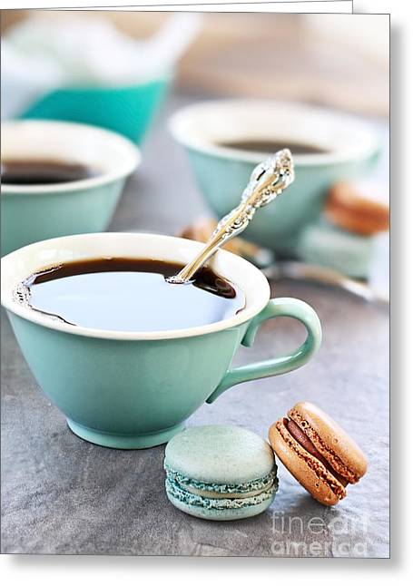 Coffee And Macarons Greeting Card by Stephanie Frey