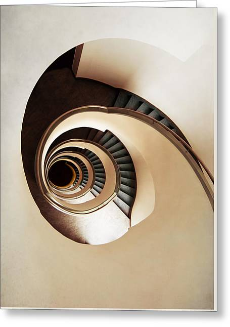 Stepping Stones Greeting Cards - Coffee and milk spiral staircase Greeting Card by Jaroslaw Blaminsky