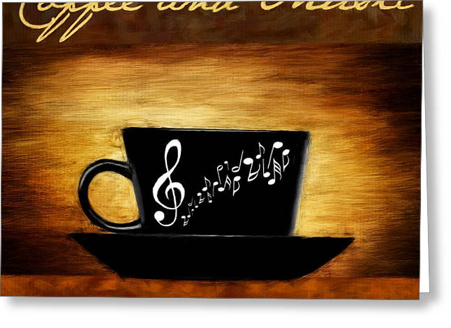Downtown Cafe Greeting Cards - Coffee And Music Greeting Card by Lourry Legarde