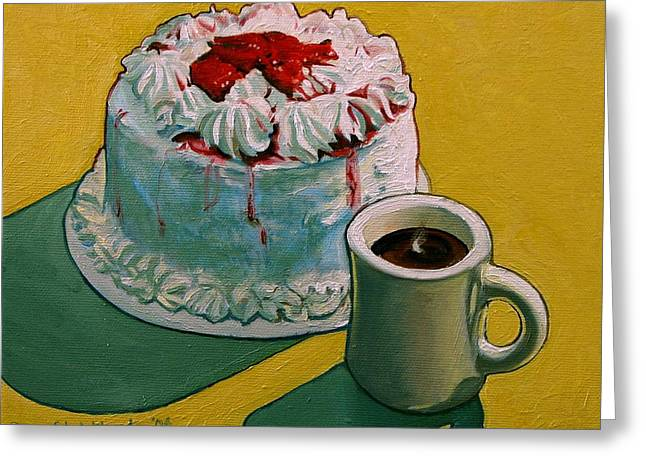 Strawberry Cakes Greeting Cards - Coffee and Strawberry Cake Greeting Card by Doug Strickland