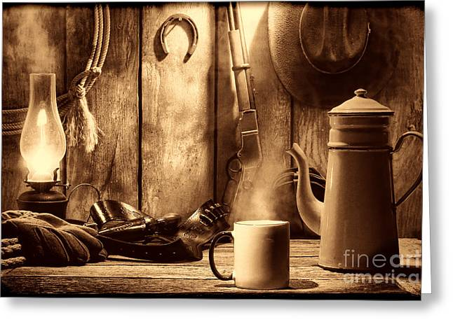 Old Western Photos Greeting Cards - Coffee at the Cabin Greeting Card by American West Legend By Olivier Le Queinec