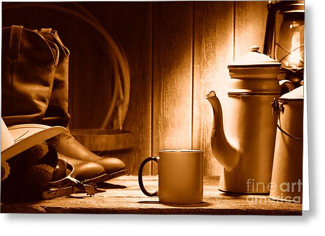 Coffee At The Ranch - Sepia Greeting Card by Olivier Le Queinec