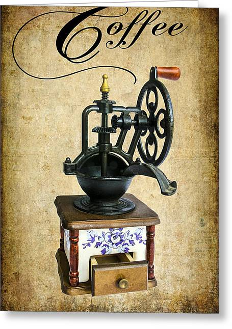 Manual Digital Art Greeting Cards - Coffee Bean Grinder Greeting Card by Daniel Hagerman