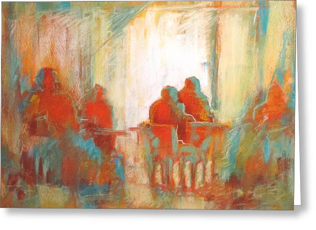 Cafe Pastels Greeting Cards - Coffee Break Greeting Card by LaDonna Kruger