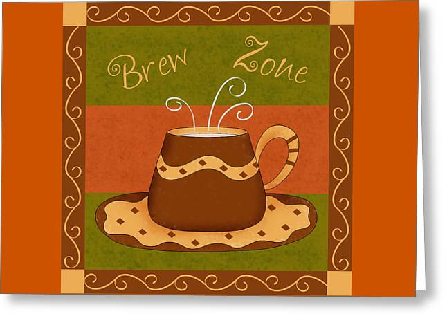 Coffee Drinking Greeting Cards - Coffee Brew Zone Greeting Card by Phyllis Dobbs