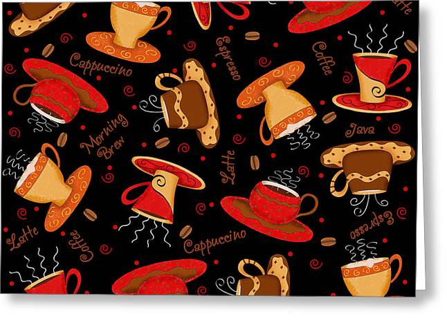 Coffee Drinking Greeting Cards - Coffee Cup Pattern Black Greeting Card by Phyllis Dobbs