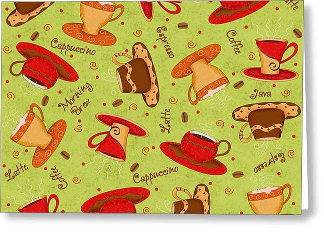 Coffee Drinking Greeting Cards - Coffee Cup Pattern Lime Green Greeting Card by Phyllis Dobbs