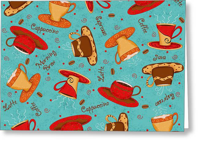 Coffee Drinking Greeting Cards - Coffee Cup Pattern Turquoise Greeting Card by Phyllis Dobbs