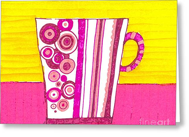 Coffee Cup - Teacup - Pink Circle And Lines Modern Design Illustration Art Greeting Card by Patricia Awapara