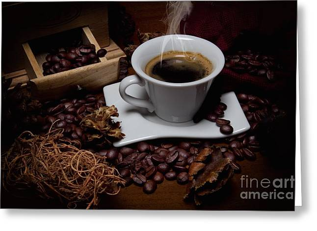 Black Top Greeting Cards - Coffee Cup Greeting Card by Ulisse Bart