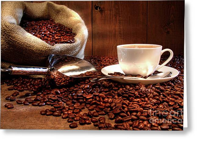 Stainless Steel Photographs Greeting Cards - Coffee cup with burlap sack of roasted beans  Greeting Card by Sandra Cunningham