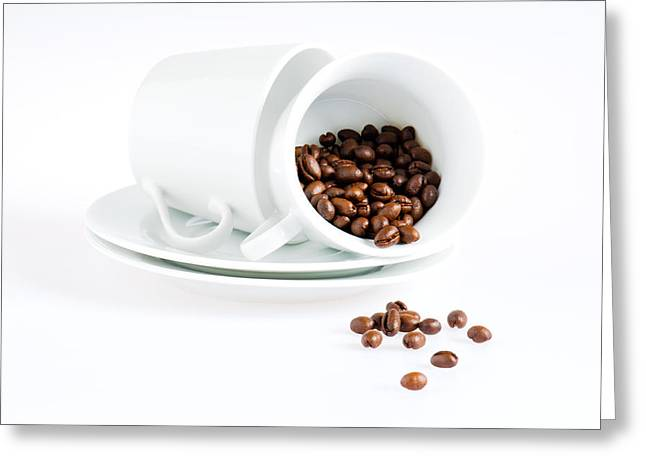 Roasted Greeting Cards - Coffee cups and coffee beans  Greeting Card by Ulrich Schade