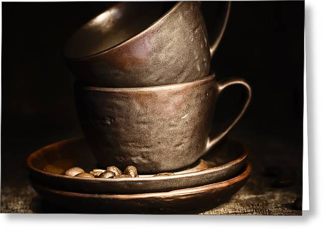 Stainless Steel Greeting Cards - Coffee Cups Greeting Card by Natalia Klenova
