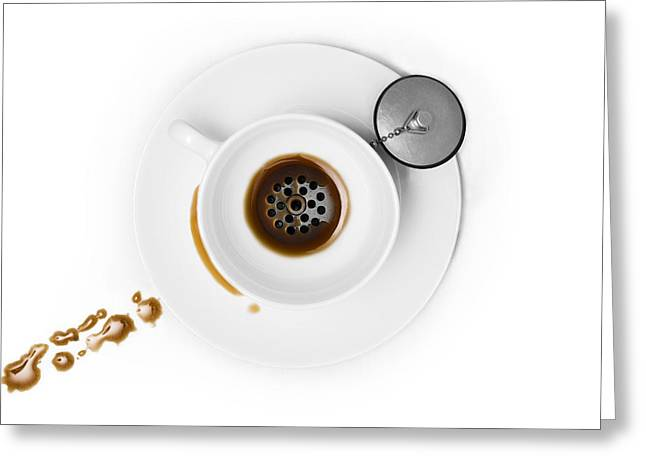 Flash Greeting Cards - Coffee Drain Greeting Card by Dennis Larsen