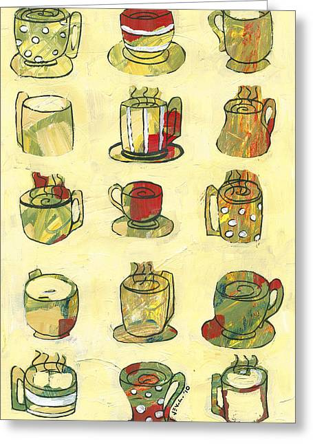 Cup Mixed Media Greeting Cards - Coffee for Fifteen Greeting Card by Jennifer Lommers