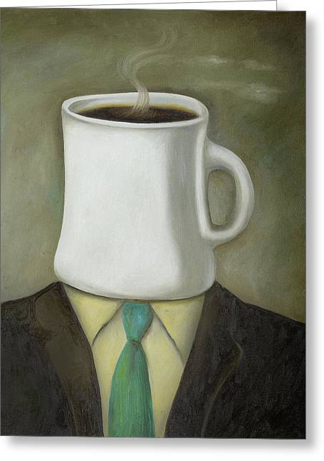 Coffee Head Greeting Card by Leah Saulnier The Painting Maniac