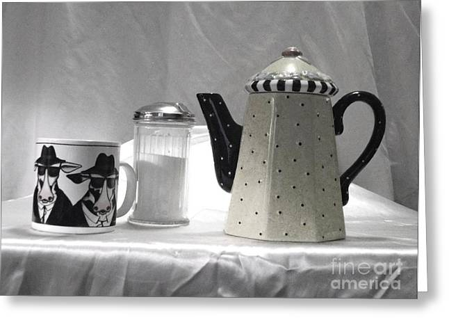 White Ceramics Greeting Cards - Coffee in Black and White Greeting Card by Donna Dixon