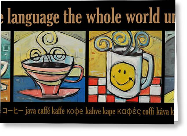 Kaffe Greeting Cards - Coffee Language Poster Greeting Card by Tim Nyberg